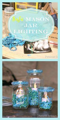 Mason Jar lighting using LED lights