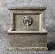 Arles Wall Fountain: DIMENSIONS x x Weight: 743 lbs. Available in several different finishes. Outdoor Wall Fountains, Stone Fountains, Garden Fountains, Water Fountains, Lavabo Exterior, Front Courtyard, Modern Shop, Modern Patio, Cast Stone