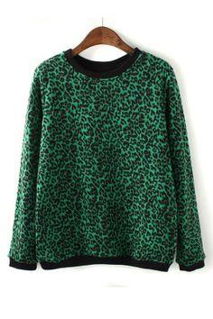 Green Leopard Print Pullover