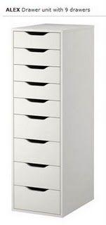 """ALEX drawer unit $120. Product dimensions  Width: 14 1/8 """"  Depth: 18 7/8 """"  Height: 45 1/4 """""""