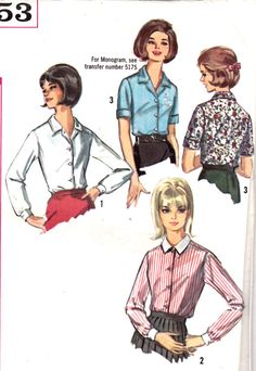1960s Misses Button Down Blouses Short or Long by Sutlerssundries, $5.00