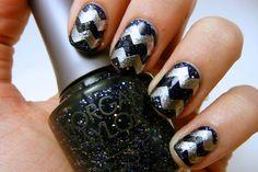 Galactic silver chevron nails