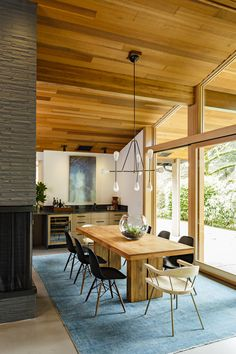 The design team exposed the original brick highlighting the warmth of the original wood ceiling.