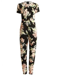 Black Crepe Floral Print Zip Back Jumpsuit