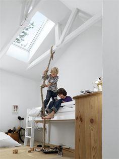 fun room | Clara would love it | skylight, slightly raised bed, climbing rope