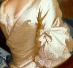 Two pearl button detail to gathered sleeve, ivory satin wrap bodice with deep decolletage exposing chemise, and also gathered frill of same at elbow. Detail of Miss Craigie, 1741, Allan Ramsay, (1713-84), Scottish, © The Berger Collection at the Denver Art Museum, USA. See full portrait: http://pinterest.com/pin/278589926921402075/