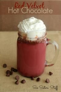 Six Sisters Red Velvet Hot Chocolate on MyRecipeMagic.com. This is so rich and delicious! We love the red velvet taste! #SixSistersStuff