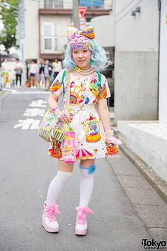 Nodoka on the street in Harajuku wearing a colorful decora look featuring handmade fashion, lots of accessories, watches from Mikazuki Momoko, and a cute panda backpack. Full Look Tokyo Street Fashion, Tokyo Street Style, Japanese Street Fashion, Japan Fashion, Japanese Kawaii Fashion, Japan Street, Harajuku Girls, Harajuku Fashion, Lolita Fashion