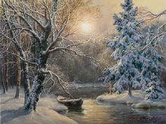 Олесино репродукция картины М.А.Сатарова Landscape Pictures, Landscape Paintings, Watercolor Paintings, Winter Painting, Winter Art, Winter Snow, Art Thomas, Winter Scenery, Colorful Paintings
