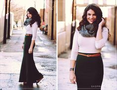 Maxi skirt style: solid dark maxi with light striped top and a scarf