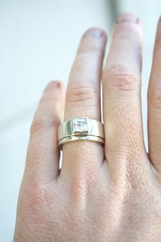 unique engagement ring square diamond ring chunky by LolaAndCash