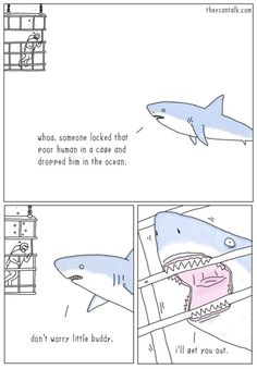 wilwheaton: theycantalk: Shark Rescue The villain is the hero of his own story.