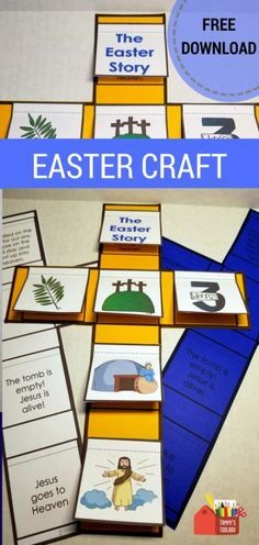 Easter Story Craft Interactive Notebook Activity Retell the Easter story with this interactive notebook activity. Cut and glue the pictures to the cross and lift the flaps to reveal the story. This is a great lesson add on and Sunday school activity. Preschool Bible, Bible Activities, Easter Activities, Easter Crafts For Kids, Easter Jesus Crafts, Jesus Easter, Easter Ideas, Easter Story For Kids, Holy Week Activities