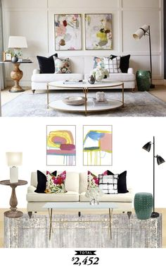 An eclectic and feminine living room designed by @shea_mcgee and recreated for $2452 by @audreycdyer for Copy Cat Chic
