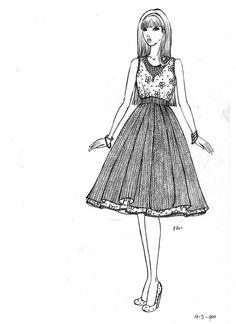 Dibujo de ni as bocetos de moda and bocetos on pinterest for Dibujos de disenos de moda