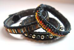 Awesome denim beaded bracelets from jean seams!