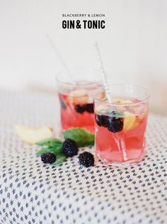 Always looking for ways to up the ante on the cocktails - can't wait to put a fun little twist on the classic gin & tonic, infused with a little blackberry and lemon. Cocktails, Cocktail Drinks, Cocktail Recipes, Party Drinks, Champagne Cocktail, Signature Cocktail, Ginger Ale Gin, Gin And Tonic, Vodka Tonic