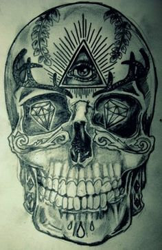 Skull, diamonds, illuminati all seeing eye.  Da Vinci code and conspiracy theories.  It's all right in front of us.  Don't be a victim of society.