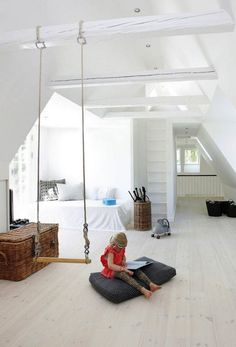 Creating a Stylish Kids Playroom - The Interior Collective Attic Renovation, Attic Remodel, Swing Indoor, Indoor Play, Indoor Gym, Childrens Swings, Deco Kids, Kids Swing, Attic Rooms
