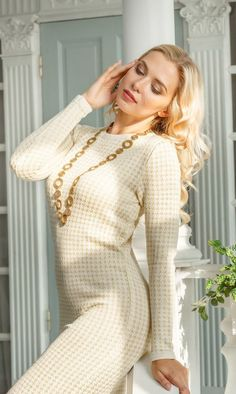 """Knitted jacquard milky white dress """"Tender sun"""" with gold lurex by Olesya Masyutina. Beautifully shimmering in the sunlight. 800 models of knitted and fabric women clothes in casual style, evening and wedding."""