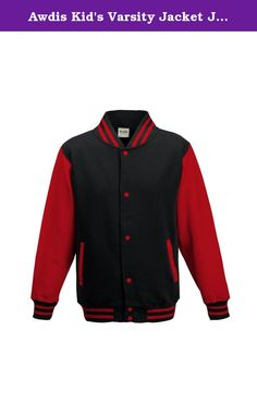 "Awdis Kid's Varsity Jacket Jet Black / Fire Red 7-8 Yrs. Contrast Sleeves. Knitted collar, cuffs and waistband with striped details. Press-stud closure. Contrast studs. Welt Contrast pockets. Taped back Neck. Hanging loop at back Neck. Pocket with small opening for earphone cord feed. Hidden earphone loops. Worldwide Responsible Accredited Production (WRAP) certified production. Age Chest (to fit) 3/4 - 26"", 5/6 - 28"", 7/8 - 30"", 9/11 - 32"", 12/13 - 34""."