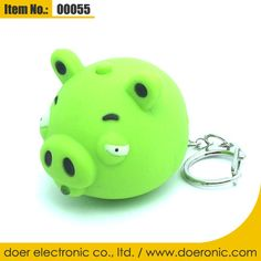 Angry Birds Green Pig Sound Key Chain LED Light | Doer Electronic the Animals Novelty Gadgets Supplier from China, Welcome to the World of Animals Fun.