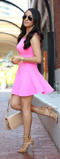 Spring has Sprung pretty pink short summer spring dress, young fun cute street style, shoes bag sunglasses