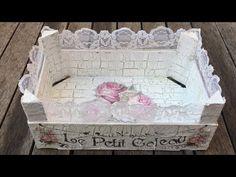 Caja de fruta reciclada con craquelado y decoupage - (Sant Jordi) - YouTube