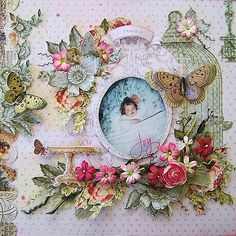 Beautiful scrapbook layout with one of my favorite paper lines, Butterfly Garden by Pink Paislee.  Great fussy cutting and layering in this layout.