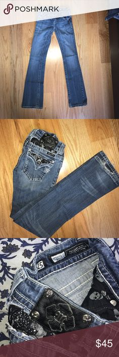 Miss me jeans size 25 boot cut. With black lace Worn a few times. In very good condition. There is some wear on the bottom of the jeans but they can be trimmed off and cleaned up. Miss Me Jeans Boot Cut