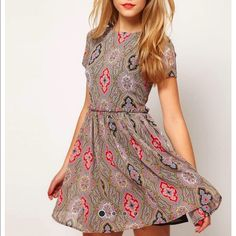 Asos paisley dress! Brand new, never worn! Purchased from another posher, but I'm a size 4 in this brand, so this is too small for me. Still has tags attached. ASOS Dresses Mini