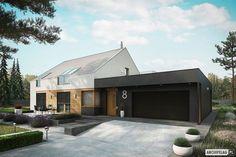 Zdjęcie projektu EX 18 energo plus Modern Ranch, Modern Barn, Hudson Homes, Villa, Dream House Exterior, House Extensions, Prefab Homes, Simple House, Future House