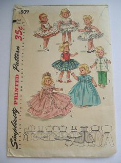 """Vintage Doll Clothes Pattern for 8"""" Doll * Muffy * Ginny * Betsy McCall.  This is another pattern my mother used to sew Ginny clothes for us one Christmas.  She didn't have a sewing machine and sewed them all by hand.  I still have them."""