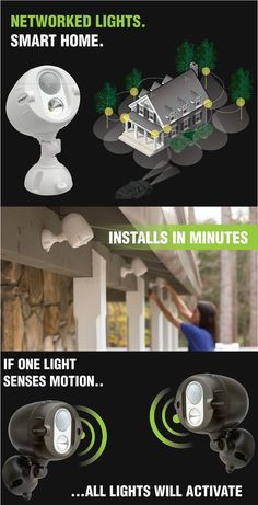 Something every home needs: smart, wireless spotlights that are simultaneously motion-triggered to illuminate your entire yard when one light detects movement. Home Security Tips, Home Security Systems, Wall E, Smart Home Ideas, Smart Home Technology, Home Defense, Wireless Security, Home Safety, Home Gadgets