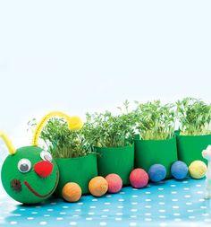Recyklované tvoření   i-creative.cz - Inspirace, návody a nápady pro rodiče, učitele a pro všechny, kteří rádi tvoří. Kindergarten Projects, Planter Pots, Preschool, Rainbow, Green Day, Children, Creative, Crafts, Gardens