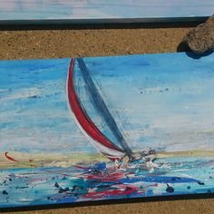 PLAIN SAILING - We fell in love with this mixed-medium painting by local West Coast artist, Diane Webb! Sailboat Painting, Painting Art, Beach Tops, We Fall In Love, West Coast, Nautical, Sailing, Artist, Medium