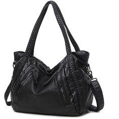 Mn&Sue Black Large Slouchy Soft Leather Women Handbag Braided Shoulder... (37 CAD) ❤ liked on Polyvore featuring bags, handbags, satchel purses, hobo handbags, leather purses, leather hobo handbags and leather satchel handbags