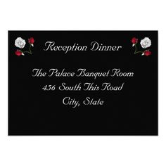 Red and White Roses reception card