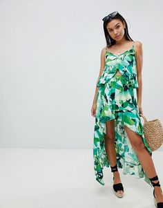 e8ce0cf1112a4 DESIGN tropic palm dipped hem beach two-piece skirt