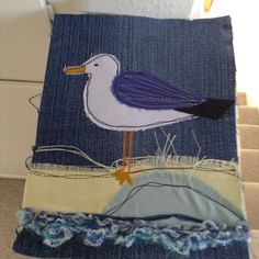 Copied this idea, appliquéd seagull made from scraps including my old jeans.