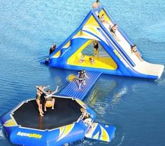 Inflatable water slide with trampoline, for water park sports game Water Trampoline, Trampoline Park, Lake Toys, Cool Pool Floats, Pool Floats For Adults, Floating In Water, Camping, Cool Pools, Awesome Pools