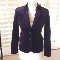 "J Crew BRAND NEW dark purple blazer J Crew BRAND NEW dark purple blazer   Gorgeous velvet soft blazer with 2 button closure. Never worn excellent condition. Fully lined   24"" long 16"" across bust and 14"" across waist. J. Crew Jackets & Coats Blazers"
