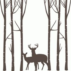Silhouette Design Store - Search Designs : birch trees deer