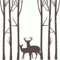 Silhouette Design Store - Search Designs : birch trees deer