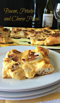 Bacon, Potato and Cheese Pizza. This is so rich and decadent and tasty! Doesn't break the bank and it is very filling! A great meal for around $6.95. An out of the everyday pizza!