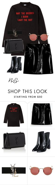 """#890"" by blendingtwostyles ❤ liked on Polyvore featuring Yves Saint Laurent, Topshop and Ray-Ban"