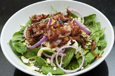 spinach salad w/ honey bacon dressing