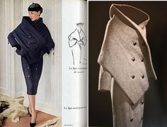 1955 Dior vintage fashion style designer couture unique dress skirt with wrap double breasted jacket black white 50s suit outfit