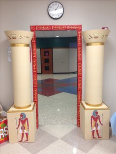 "Made two ""Egyptian Tomb Columns"". Cardboard boxes and concrete tubes. Plastic dollar ice tubs for the tops. HVLP'd tan. Printed stickers and applied for details"