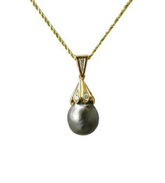 Tahitian Pearl and Diamond Pendant - The Goldsmiths & Silversmiths Co. Collection